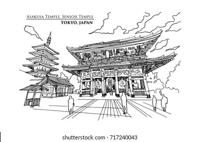 Perspective of Asakusa Temple or Sensoji Temple in TOKYO, JAPAN, Vector illustration sketch design.