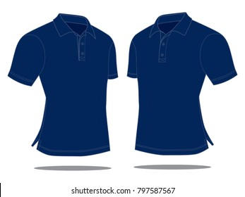 Perspective blank navy blue polo shirt vector for template.