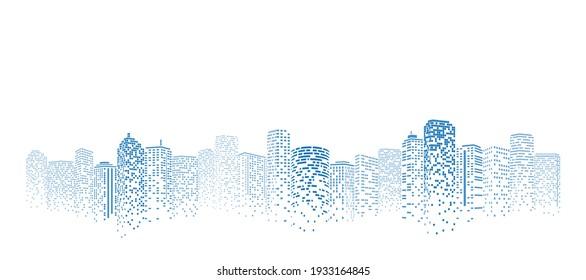 Perspective building. Digital or smart city illustration. City scene on night time.