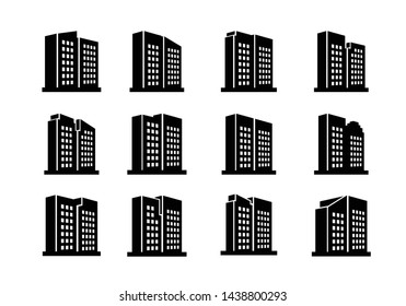 Perspective company icons and vector buildings set, Black office collection on white background, Line edifice and residential illustration