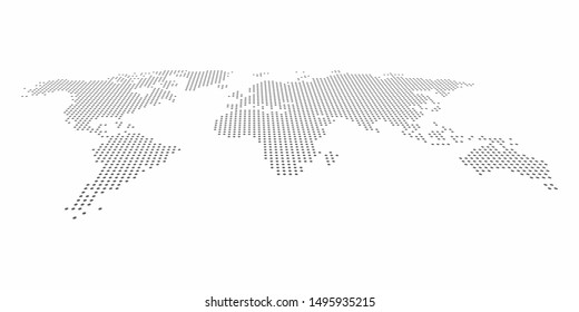 Perspective dotted polka dot style world map