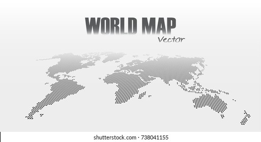 Perspective and dotted style world map on gray background .