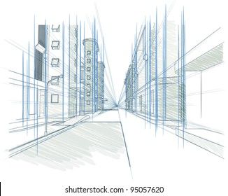 Perspective drawing of a Building, Concept - modern city, architecture and designing outline vector illustration