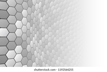 Perspective grid hexagonal surface. Abstract background with white shapes. Vector illustration.