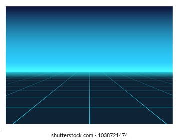 Perspective grid in Retro Futurism Style. Abstract bright background in 80s Sci-fi style.