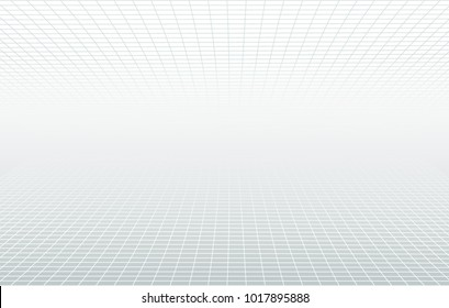 Perspective grid white and grey ethereal background. Vector design minimum concept. Decorative web layout, poster, banner. Aura abstract lines light backdrop