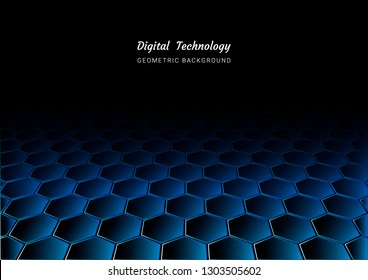 perspective hexagon geometric abstract background, dark blue black space wallpaper, hive shape, game technology digital web vector design