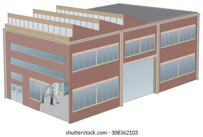 Perspective illustration of Factory building