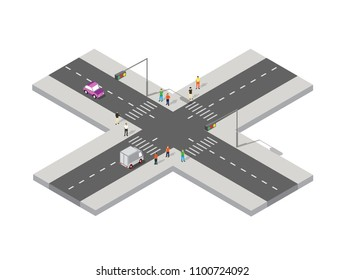 Perspective isometric view road from above to the city quarter of the highway intersection transport cars on street urban landscape and with people, town infrastructure.