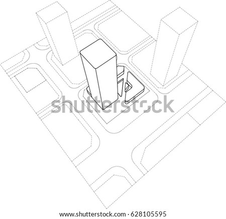 Perspective Line Drawing Architectural Diagram Representing Stock