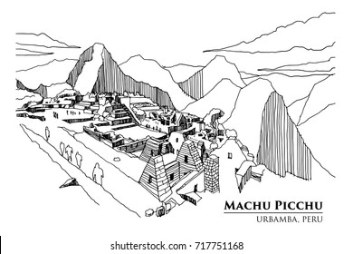 Perspective of Machu Picchu, Urbamba province, PERU, vector illustration sketch design.