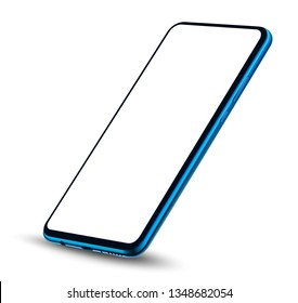 Perspective realistic smartphone mockup transparent screen. Vector illustration for technology mobile application and elementals advertising.