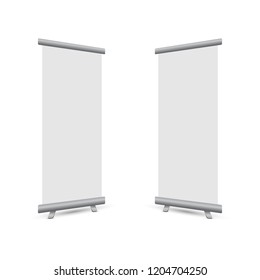 Perspective roll up banner business isolated on white background, stock vector