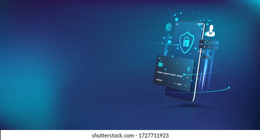 Perspective smartphone and internet banking app. Online payment security transaction via credit card. Digital protection, transfer pay protection. Modern smartphone app. Vector illustration