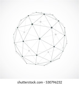 Perspective technology shape with gray lines connected, polygonal wireframe object with transparency effect. Abstract faceted element for use as design structure on communication technology theme