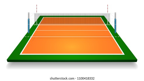 Perspective vector illustration of vollyball field court with net. Vector EPS 10. Room for copy.