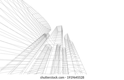 Perspective view of abstract modern city architecture vector 3d illustration
