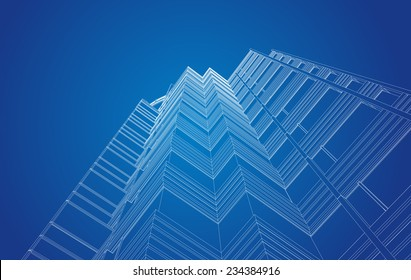 perspective view of modern building in vector