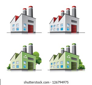 Perspective view on four factory building vector icons in cartoon style. Green manufacturing and producing.