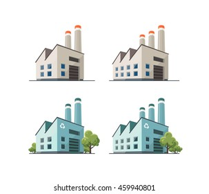 Perspective view on four power electricity industry factory building in cartoon style. Green manufacturing and ecology recycling producing. Isolated vector flat illustration.