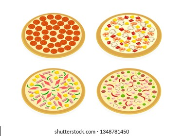 Perspective view Set of pizza on white, vector art