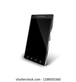 Perspective view smartphone with shadow isolated on white background