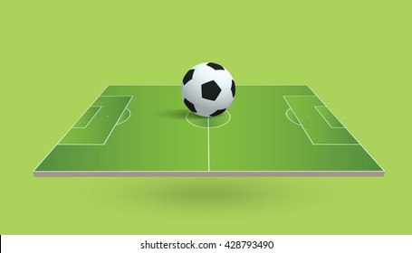 Perspective view of soccer field and soccer ball on white background. Vector illustration.
