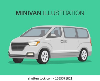 Perspective view of white mini van. Flat vector illustration of shuttle bus.