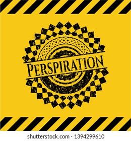 Perspiration black grunge emblem inside yellow warning sign. Vector Illustration. Detailed.