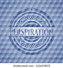 Perspiration blue polygonal emblem.