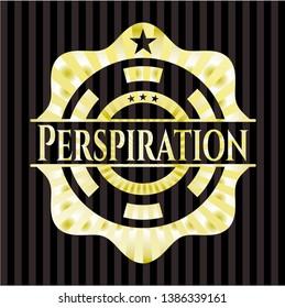 Perspiration gold shiny badge. Vector Illustration. Detailed.
