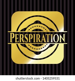 Perspiration golden emblem or badge. Vector Illustration. Detailed.