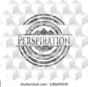 Perspiration grey emblem. Vintage with geometric cube white background