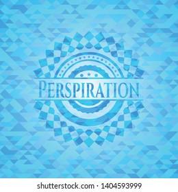 Perspiration light blue emblem. Mosaic background