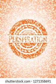 Perspiration orange mosaic emblem with background