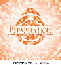 Perspiration orange tile background illustration. Square geometric mosaic seamless pattern with emblem inside.
