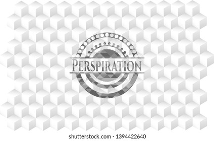 Perspiration realistic grey emblem with cube white background