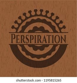 Perspiration realistic wooden emblem
