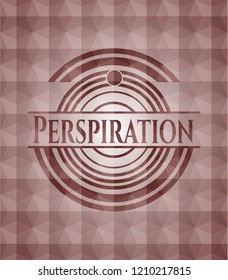 Perspiration red emblem with geometric background. Seamless.