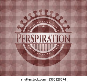 Perspiration red emblem with geometric pattern. Seamless.