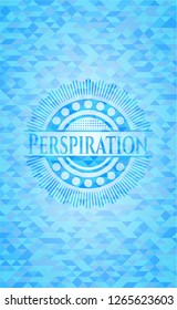 Perspiration sky blue emblem with triangle mosaic background
