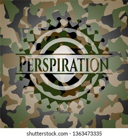 Perspiration written on a camouflage texture