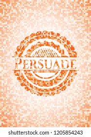 Persuade abstract orange mosaic emblem