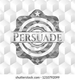 Persuade grey emblem with geometric cube white background
