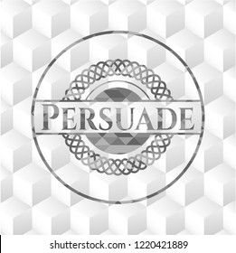 Persuade retro style grey emblem with geometric cube white background