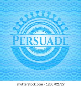 Persuade water wave representation emblem background.