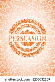 Persuasion abstract orange mosaic emblem