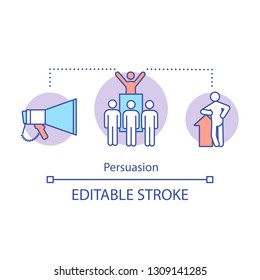 Persuasion concept icon. Leadership skills idea thin line illustration. Leading abilities. Leader qualities. Vector isolated outline drawing. Editable stroke