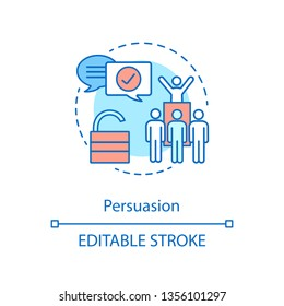 Persuasion concept icon. Leading abilities. Public speaking. Team building. Leader qualities. Leadership skills idea thin line illustration. Vector isolated outline drawing. Editable stroke
