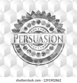 Persuasion grey emblem with cube white background